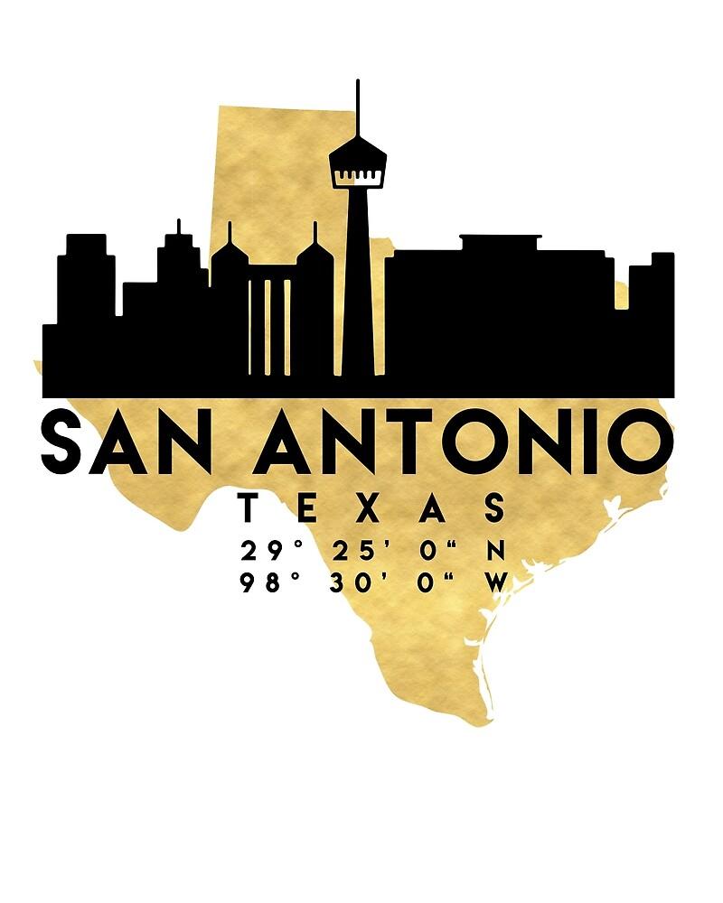 san antonio texas silhouette skyline map art