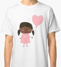 Kawaii girl in pink colors with heart balloon Classic T-Shirt
