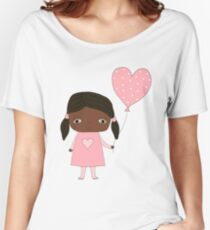 Kawaii girl in pink colors with heart balloon Women's Relaxed Fit T-Shirt