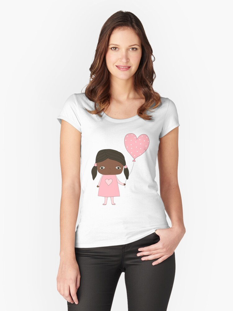Kawaii girl in pink colors with heart balloon Women's Fitted Scoop T-Shirt Front