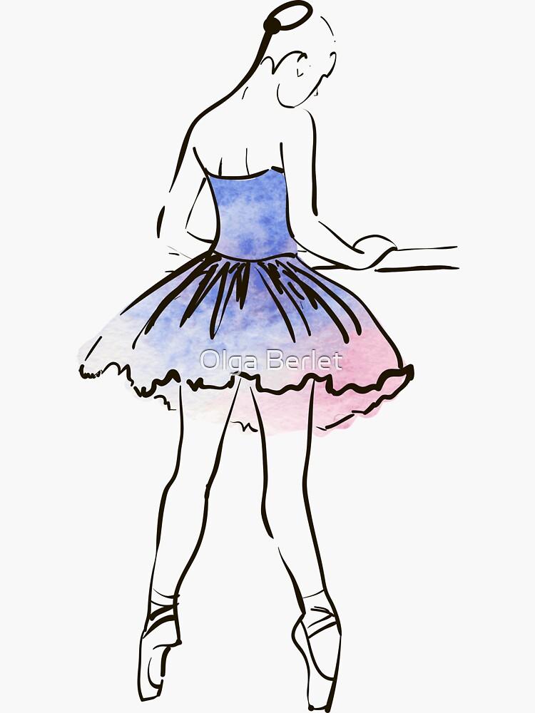 figura de bailarina, ilustración acuarela de OlgaBerlet