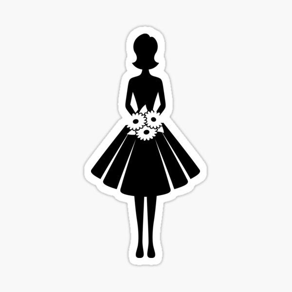 A woman with flowers Sticker