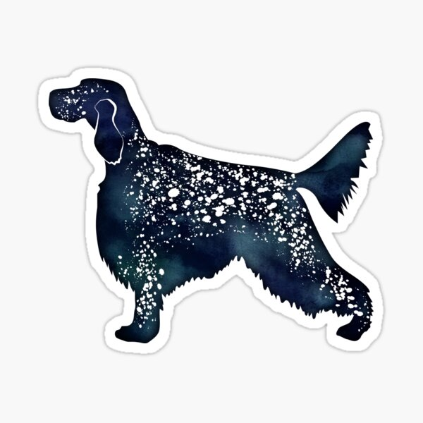 English Setter Dog Breed Black Watercolor Silhouette Sticker