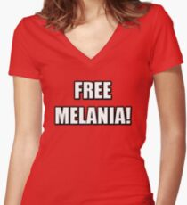 FREE MELANIA Women's Fitted V-Neck T-Shirt