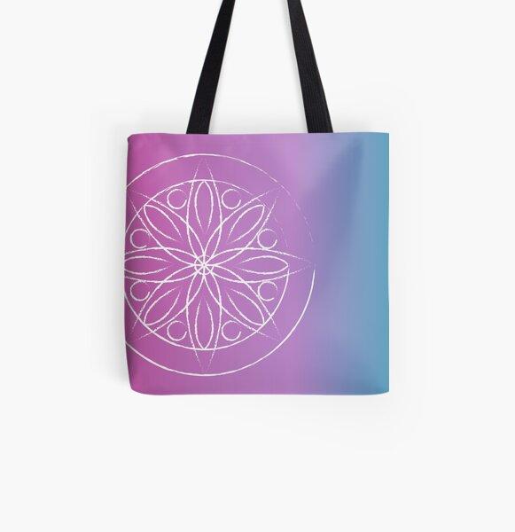 Mandala on fuschia and turquoise All Over Print Tote Bag