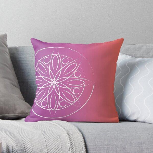 Mandala on fuschia and orange Throw Pillow