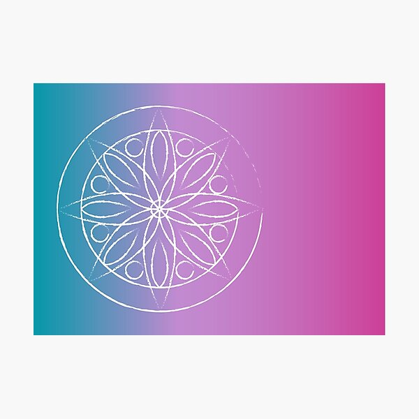 Mandala turquoise and pink Photographic Print