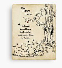 winnie the pooh - how lucky i am Canvas Print