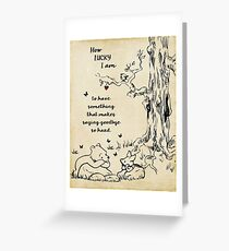 winnie the pooh - how lucky i am Greeting Card