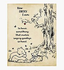 winnie the pooh - how lucky i am Photographic Print