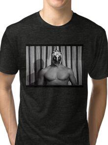 MIL MASCARAS ! Vintage retro wrestling photo 1970's Tri-blend T-Shirt