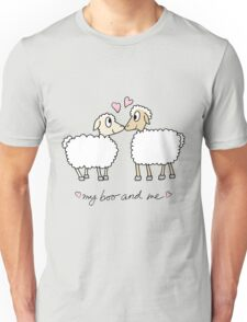 My boo and me, valentine with 2 cartoon sheep Unisex T-Shirt