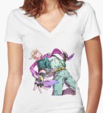 Caesar Anthonio Zeppeli - Jojo's Bizarre Adventure Part 2: Battle Tendency Women's Fitted V-Neck T-Shirt
