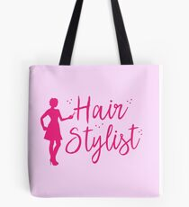 Hair Stylist (in pink with lady hairdresser and scissors) Tote Bag