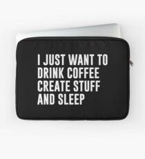 Kaffee schaffen Zeug und schlafen Laptoptasche
