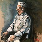 "Tommy the chef. 16x20"" oil on linen on board.  by Elizabeth Moore Golding"
