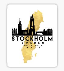 STOCKHOLM SCHWEDEN SILHOUETTE SKYLINE MAP ART Sticker