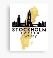 STOCKHOLM SWEDEN SILHOUETTE SKYLINE MAP ART  Canvas Print