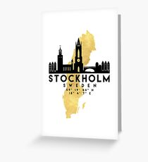 STOCKHOLM SWEDEN SILHOUETTE SKYLINE MAP ART  Greeting Card