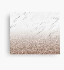 Glitter ombre - white marble & rose gold glitter Canvas Print