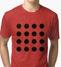 Push the button! Polka dot pattern yellow, black Tri-blend T-Shirt