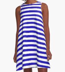 Deep blue marine stripes pattern minimal design A-Line Dress