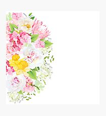 Sunny spring vector design card with white peony, yellow daffodils, protea, pink hydrangea, wild rose and bright green leaves. Happy floral background. All elements are isolated and editable Photographic Print