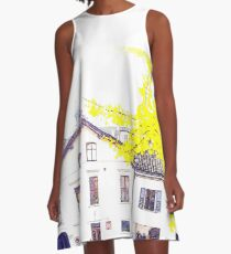 House with autumnal tree A-Line Dress
