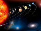 Digital erzeugtes Bild unseres Sonnensystems und Punkte darüber hinaus. von StocktrekImages