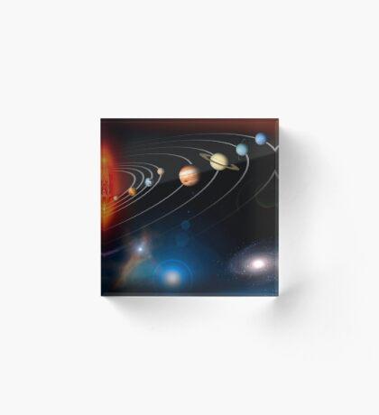 Digital erzeugtes Bild unseres Sonnensystems und Punkte darüber hinaus. Acrylblock