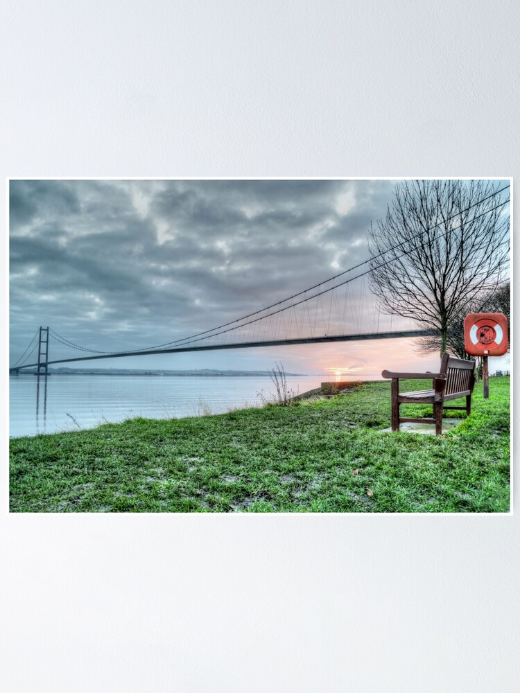 View Of Humber Bridge At Sunset Canvas Wall Art prints high quality