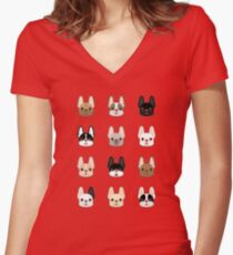 Frenchies Family  Women's Fitted V-Neck T-Shirt