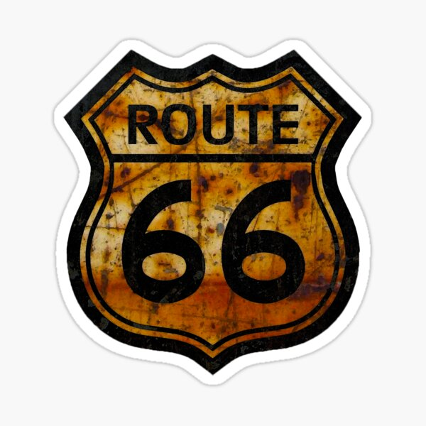 ROUTE 66 RUSTED SIGN Sticker