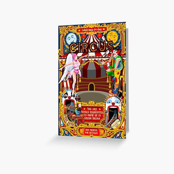 Carnival Circus Amusement Family Theme Park Illustration   Greeting Card