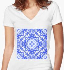 Portuguese azulejo tiles.  Women's Fitted V-Neck T-Shirt