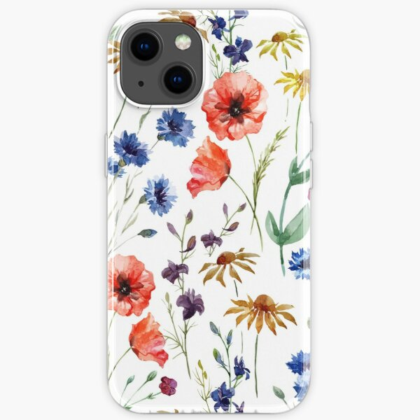 wild flower watercolor iPhone Soft Case