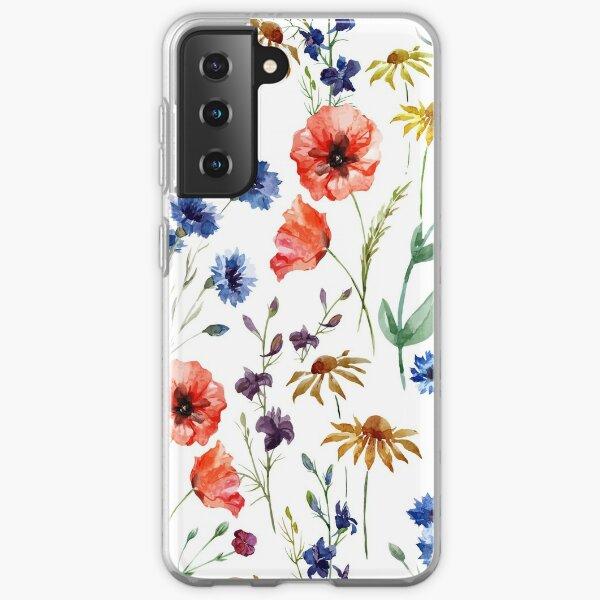 wild flower watercolor Samsung Galaxy Soft Case