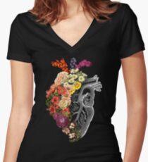 Flower Heart Spring Women's Fitted V-Neck T-Shirt