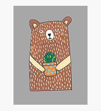 Cute Bear Holding His Plant Photographic Print