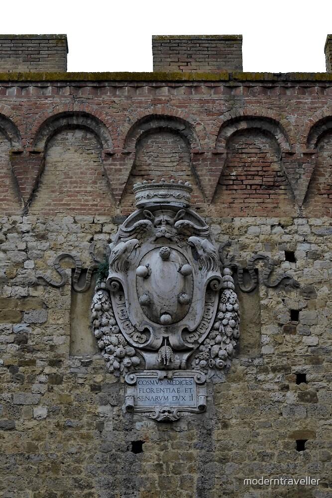 Stone emblem on Siena wall by moderntraveller