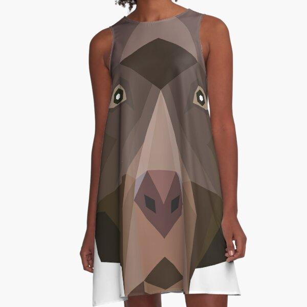 Polygon Chocolate Labrador Retreiver  A-Line Dress