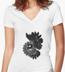 Space Owl Women's Fitted V-Neck T-Shirt
