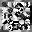 Black And White Textured Circles by Printpix