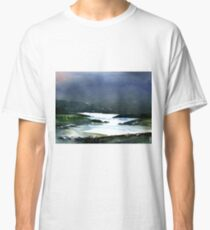 Icy white waters in forest black onyx mountains Classic T-Shirt