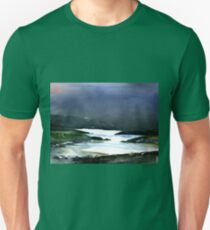 Icy white waters in forest black onyx mountains Unisex T-Shirt