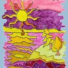 SUNSET OCEAN SEASCAPE - SHINE ON BABY! by Nicola Furlong