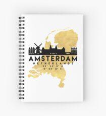 AMSTERDAM NETHERLANDS SILHOUETTE SKYLINE MAP ART  Spiral Notebook