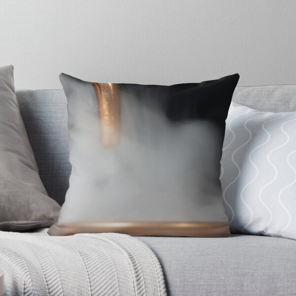 Copper pipe with steam Throw Pillow