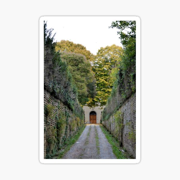 Walled driveway with plants, Siena Sticker
