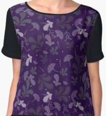 Simple cute seamless pattern in violet fantasy flowers. Women's Chiffon Top